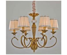 Lampada da sospensione 6 luci lampadario in tessuto Finitura Ottone Classico