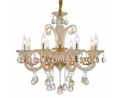 Lampadario da 8 luci lampada In vetro Cristallo dorato 2076-8