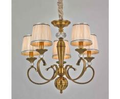 Lampada da sospensione 5 luci lampadario in tessuto Finitura Ottone Classico