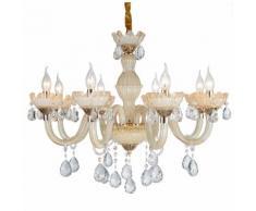 Lampadario da soffitto Cristallo dorato e gocce Trasparenti 8 Bracci 2072-8