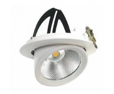 Faro LED COB 30W a incasso Orientabile 360 gradi 220v foro incasso 180-245 mm