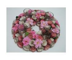 Centrotavola tondo con fiori stoffa 4 portacandele