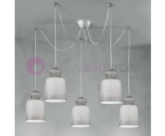Due P Illuminazione Eternity Lampada A Sospensione A 5 Luci In Vetro Soffiato Design Moderno