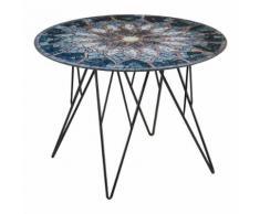 Tavolino Prunus 55 con piano in vetro effetto mosaico