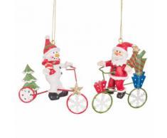 Decorazioni natalizie da appendere bici rosse e verdi