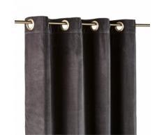 Tenda con occhielli in velluto grigio carbone, 140x300 cm