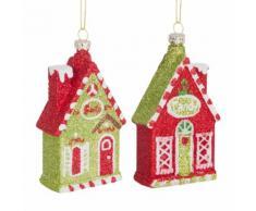 Decorazioni natalizie da appendere casette con glitter