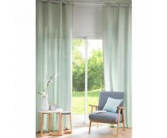 Tenda verde chiaro in lino lavato con occhielli 130x300cm
