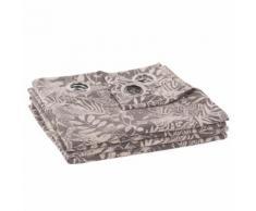 Tenda con occhielli intessuta jacquard stampa fogliame, 135x270 cm