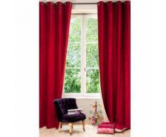 Tenda rossa e beige in velluto e lino con occhielli 140x300 cm