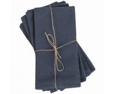 4 tovaglioli in cotone lavato blu, 40x40