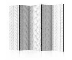 Paravento 5 Pannelli - White Knit Ii 225x172cm Erroi...
