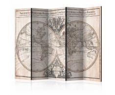 Paravento 5 Pannelli - Mappe-monde Geo-hydrographique 225x172cm Er...