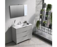 Mobile Bagno Sospeso 100 Cm Lavabo Specchio E Lampada A Led Tft Ma...