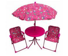 Set Tavolino + 2 Sedie Da Giardino Per Bambini Soriani Glamour Ros...
