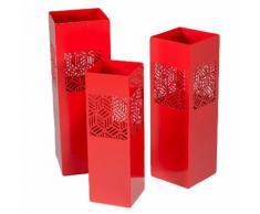 Set 3 Portaombrelli In Metallo 20x20h60cm Adami Geometrie Rosso...