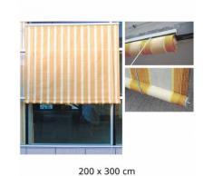 Tenda Da Sole Per Esterno Con Rullo Tessuto Beige Rigato 200x300cm...