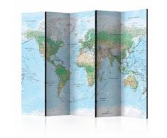 Paravento 5 Pannelli - World Map 225x172cm Erroi...