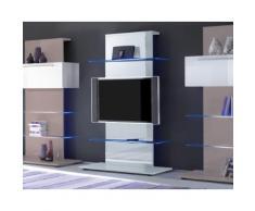 Mobile Tv A Torre 2 Mensole In Vetro 104x50x169cm Tft Primo Bianc...