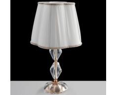 Lume Cristallo Finiture Cromo Paralume Tessuto Lampada Classica E1...
