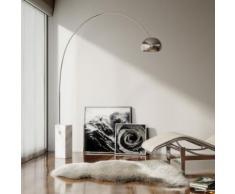 Lampada ad arco in alluminio con base rotonda in marmo nero f a