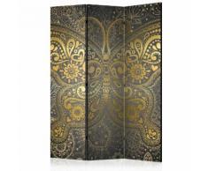 Paravento 3 Pannelli - Golden Butterfly 135x172cm Erroi...