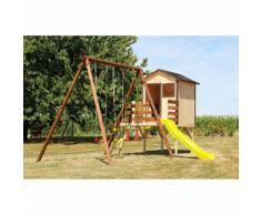 Area Giochi Altalena Scivolo Casetta Playground In Legno H235cm Ne...