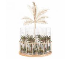 Supporto palma in metallo con 6 boccali da birra in vetro stampa palma