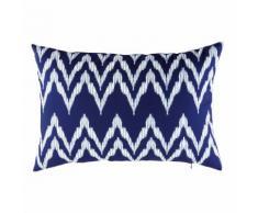 Cuscino da esterno blu a motivi grafici bianchi, 40x60