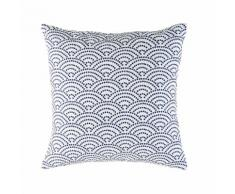 Cuscino da esterno bianco a motivi grafici blu, 45x45