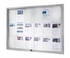 office akktiv Bacheca, cornice in alluminio, ante scorrevoli