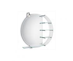 N.25 Specchio molato reversibile con n.3 mensole in cristallo + faretto alogeno universale + mensola