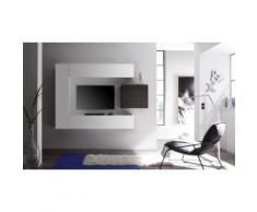 Parete pensile per soggiorno Cube: 3 pensili e 1 cubo / Bianco-Rovere wenge