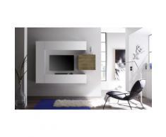 Parete pensile per soggiorno Cube: 3 pensili 1 cubo / Bianco-Rovere miele