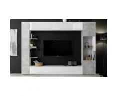Parete soggiorno Sorano: Bianco laccato lucido-beton