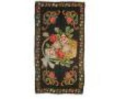 Nain Trading Tappeto Tessuto a Mano Rose Kilim Antico 226x118 Corridore Grigio Scuro/Marrone (Lana, Persia/Iran)