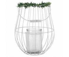 Lanterna in metallo bianco e vetro con piante artificiali