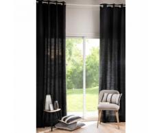 Tenda grigio carbone in lino slavato con occhielli 130x300 cm