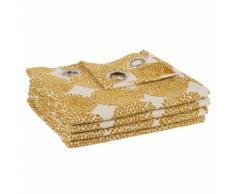 Tenda con occhielli giallo senape con motivi, 135x250 cm