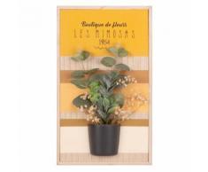Quadro in paulonia con stampa e pianta artificiale, 22x28 cm