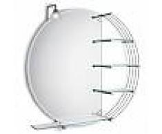 Bertocci N.25 Specchio Molato Reversibile Con N.3 Mensole In Cristallo + Faretto Alogeno Universale + Mensola