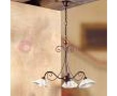 Lampadari In Ferro E Ceramica : Lampadario in ferro battuto e ceramica: lampadario in ferro battuto