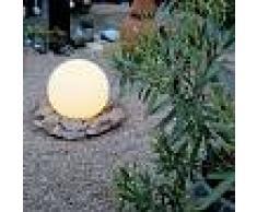 QAZQA Faretto con palo da giardino 'Ball 50 Spike' moderno blanco/plastica - adatto per LED / esterno