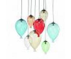 Ideal Lux Lampadario id-clown sp8 g9 vetro colorato artigianale moderno goccia interno
