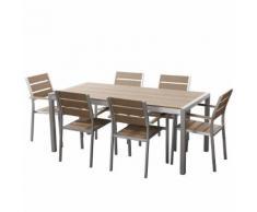 Set di tavolo e sedie da giardino in alluminio e legno sintetico marrone VERNIO