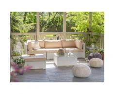 Divano da giardino in rattan bianco SANO
