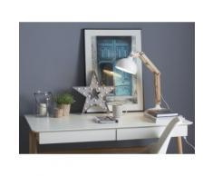 Lampada da tavolo in legno e metallo bianco - SALADO