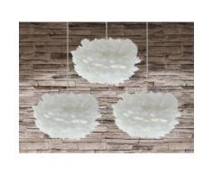 Set di 3 lampade da soffitto in piuma bianca FOG mini