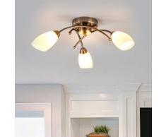 Magnifica plafoniera OPERA a 3 luci, ottone antico