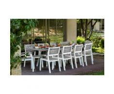 Set pranzo Harmony Keter composto da 1 tavolo allungabile, 6 sedie e 2 poltrone